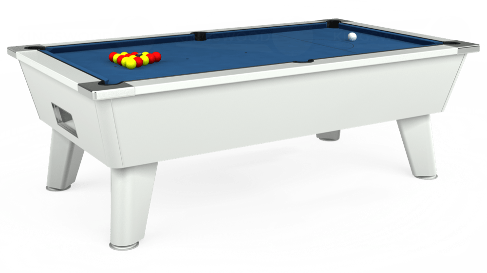 7ft Outback Free Play Pool Table in White with Hainsworth Elite-Pro Cadet Blue cloth delivered and installed - £1,375.00