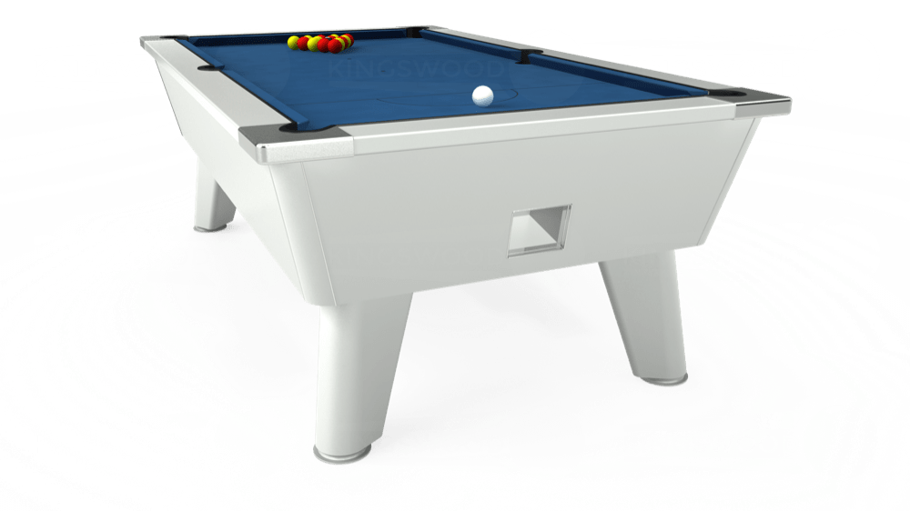 7ft Omega Free Play Pool Table in White with Hainsworth Elite-Pro Cadet Blue cloth delivered and installed - £1,125.00
