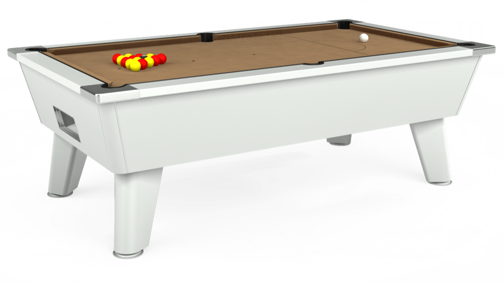 7ft Omega Free Play Pool Table in White with Hainsworth Elite-Pro Camel cloth delivered and installed - £1,125.00