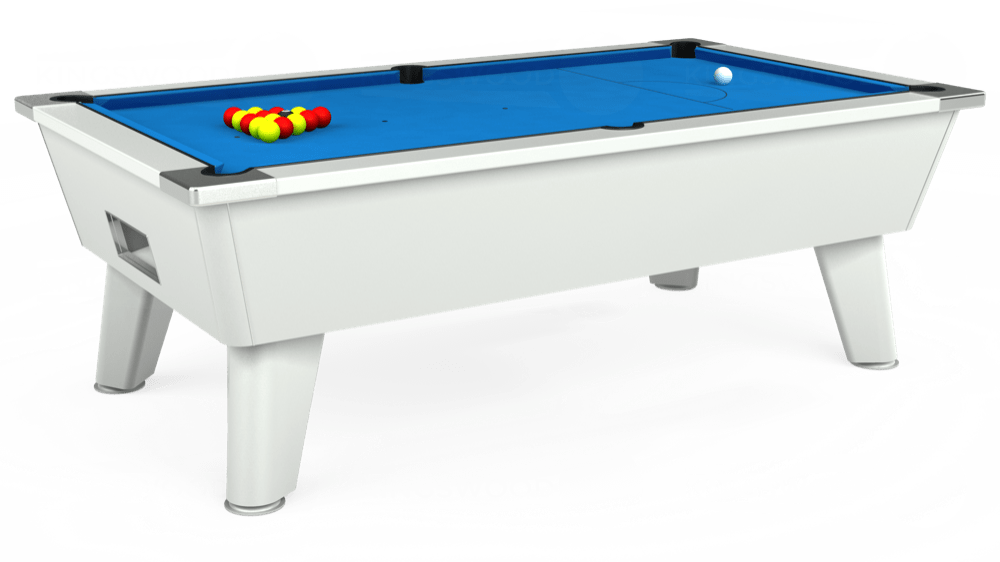 7ft Omega Free Play Pool Table in White with Hainsworth Elite-Pro Electric Blue cloth delivered and installed - £1,125.00
