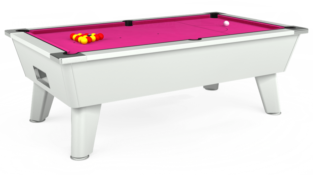 7ft Outback Free Play Pool Table in White with Hainsworth Elite-Pro Fuchsia cloth delivered and installed - £1,375.00