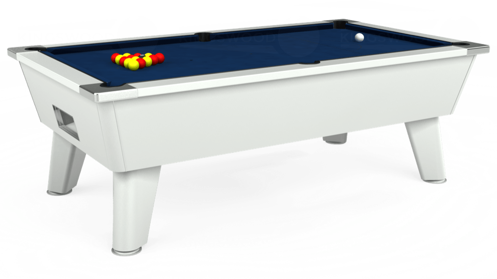 7ft Outback Free Play Pool Table in White with Hainsworth Elite-Pro Marine Blue cloth delivered and installed - £1,375.00