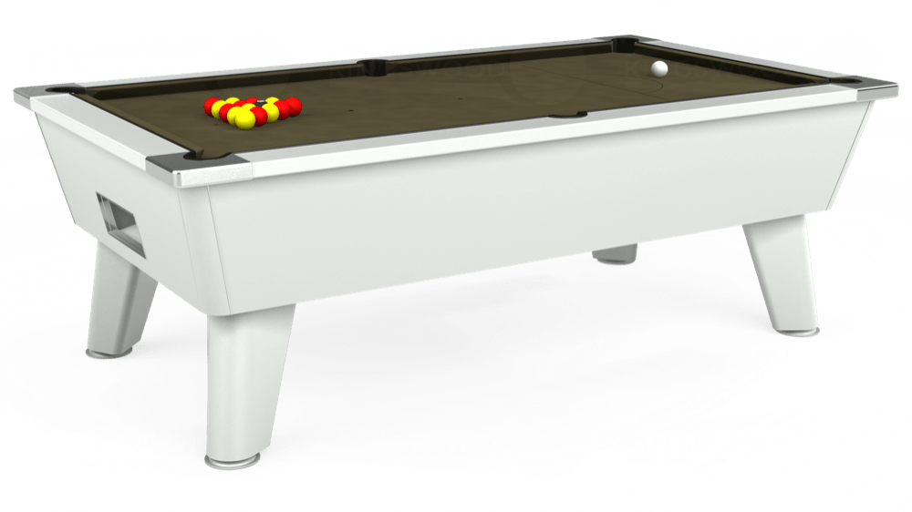7ft Outback Free Play Pool Table in White with Hainsworth Elite-Pro Olive cloth delivered and installed - £1,375.00