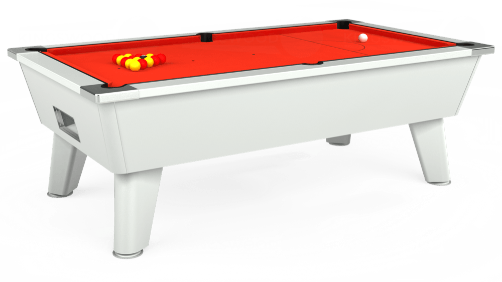 7ft Omega Free Play Pool Table in White with Hainsworth Elite-Pro Orange cloth delivered and installed - £1,125.00