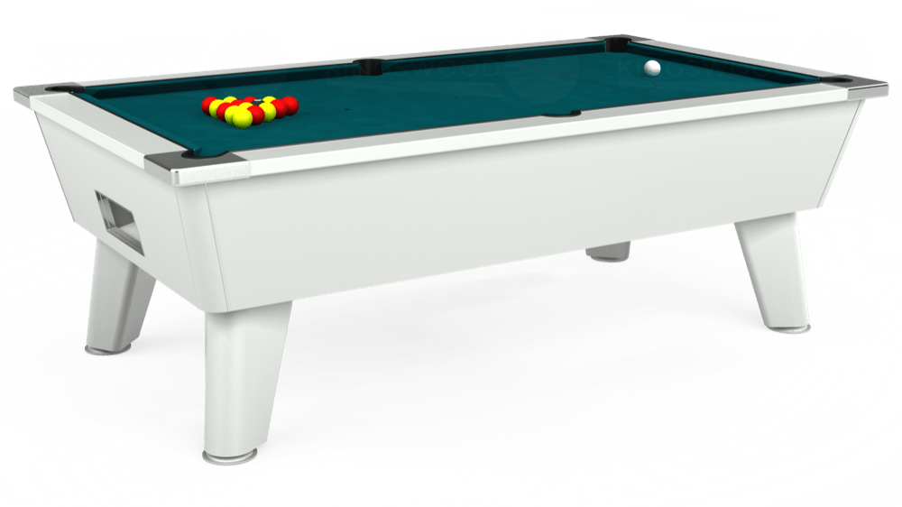 7ft Omega Free Play Pool Table in White with Hainsworth Elite-Pro Petrol Blue cloth delivered and installed - £1,125.00