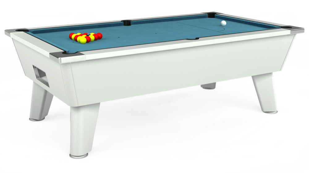 7ft Omega Free Play Pool Table in White with Hainsworth Elite-Pro Powder Blue cloth delivered and installed - £1,125.00