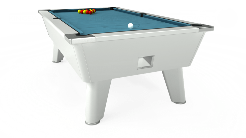 7ft Outback Free Play Pool Table in White with Hainsworth Elite-Pro Powder Blue cloth delivered and installed - £1,375.00