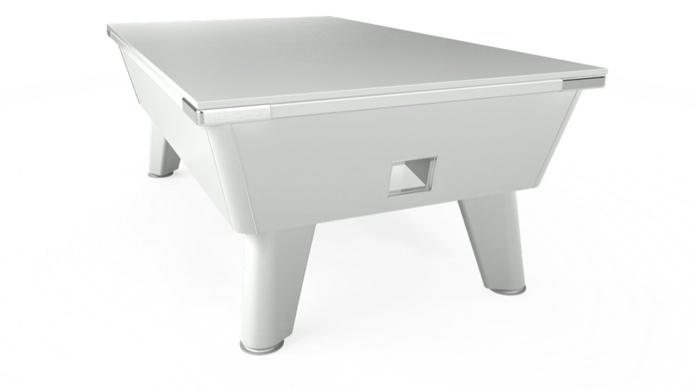 7ft Omega Free Play Pool Table in White with Hainsworth Elite-Pro Purple cloth delivered and installed - £1,125.00