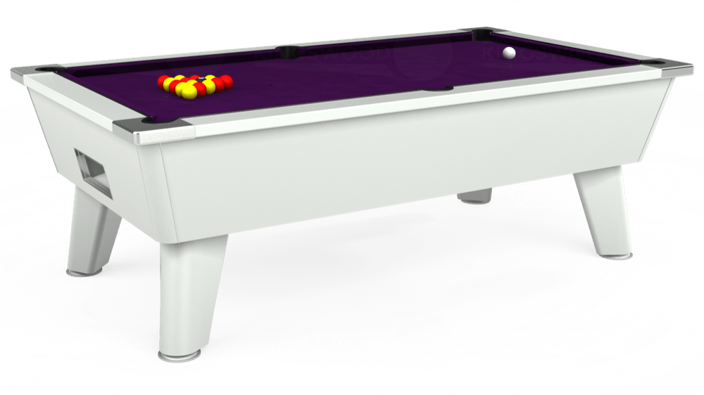 7ft Outback Free Play Pool Table in White with Hainsworth Elite-Pro Purple cloth delivered and installed - £1,375.00