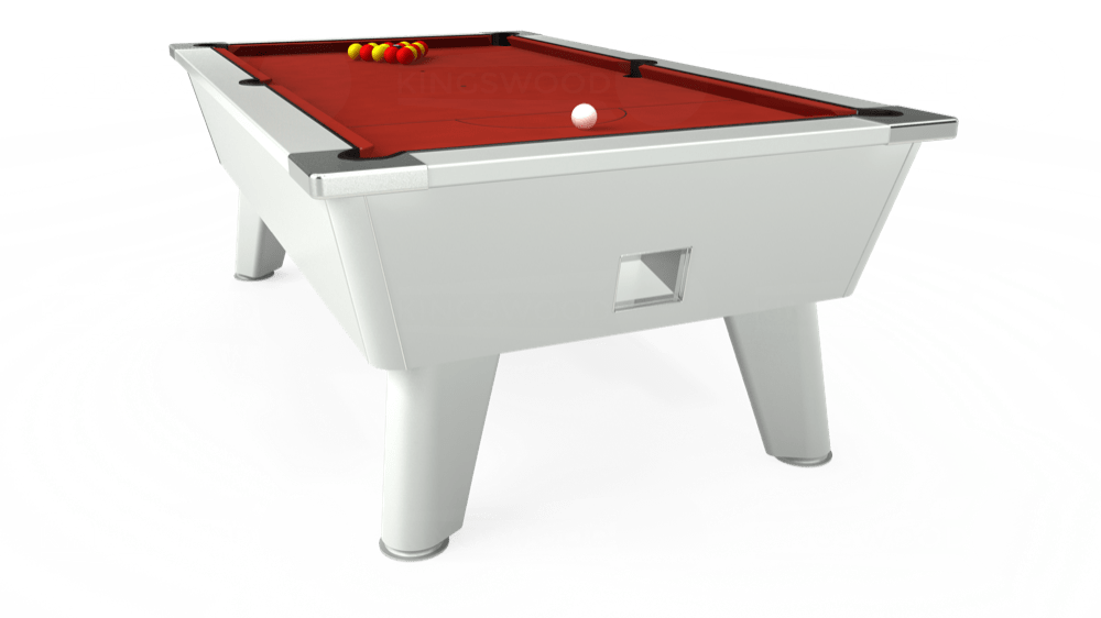 7ft Outback Free Play Pool Table in White with Hainsworth Elite-Pro Red cloth delivered and installed - £1,375.00