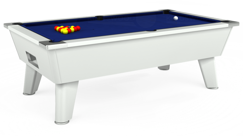 7ft Omega Free Play Pool Table in White with Hainsworth Elite-Pro Royal Blue cloth delivered and installed - £1,125.00