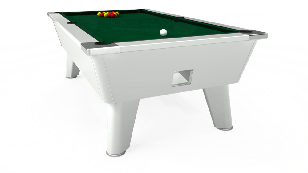 7ft Omega Free Play Pool Table in White with Hainsworth Elite-Pro Spruce cloth delivered and installed - £1,125.00