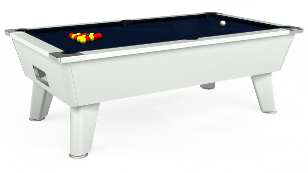 7ft Omega Free Play Pool Table in White with Hainsworth Smart French Navy cloth delivered and installed - £1,125.00