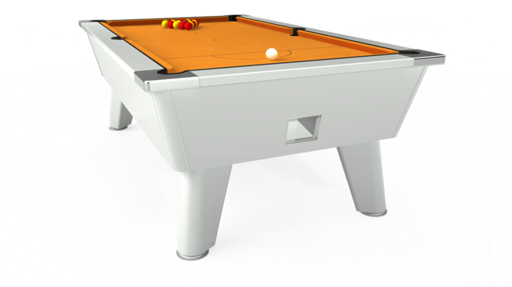 7ft Omega Free Play Pool Table in White with Hainsworth Smart Gold cloth delivered and installed - £1,125.00