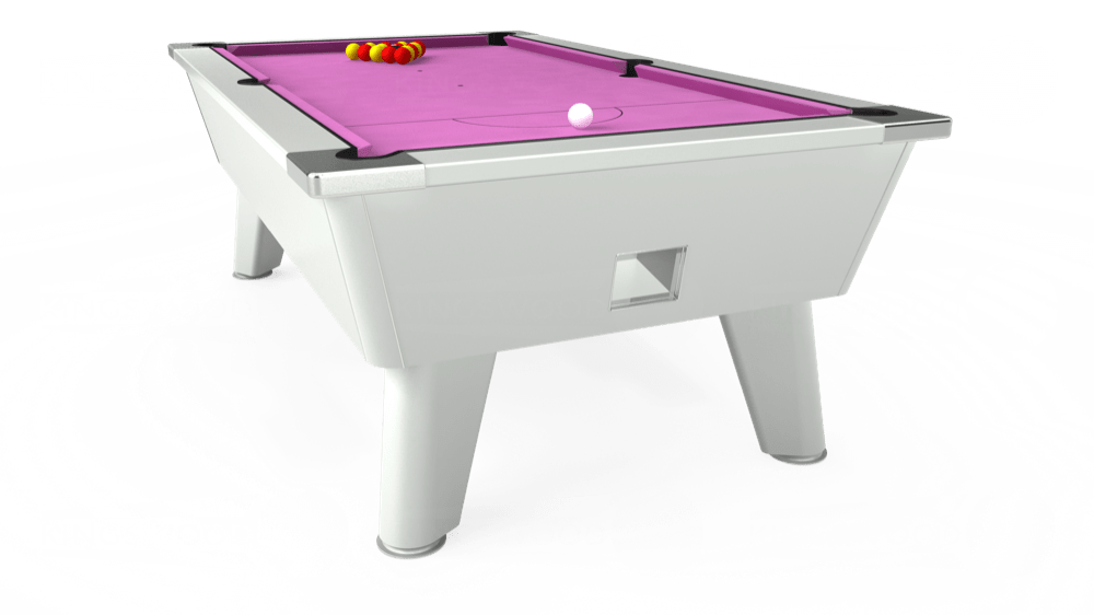7ft Omega Free Play Pool Table in White with Hainsworth Smart Pink cloth delivered and installed - £1,125.00