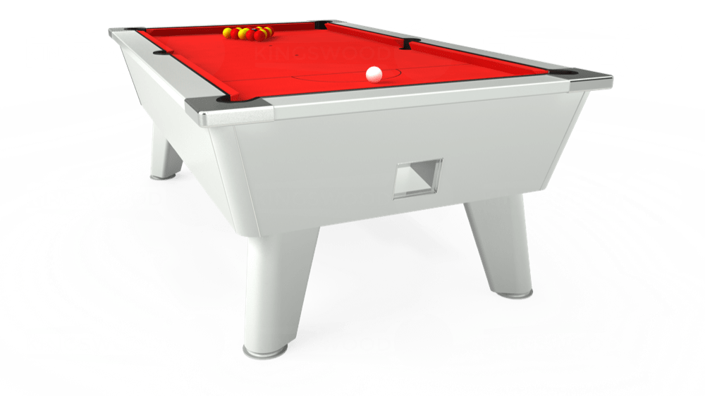 7ft Omega Free Play Pool Table in White with Hainsworth Smart Red cloth delivered and installed - £1,125.00