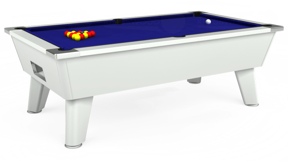 7ft Omega Free Play Pool Table in White with Hainsworth Smart Royal Blue cloth delivered and installed - £1,125.00