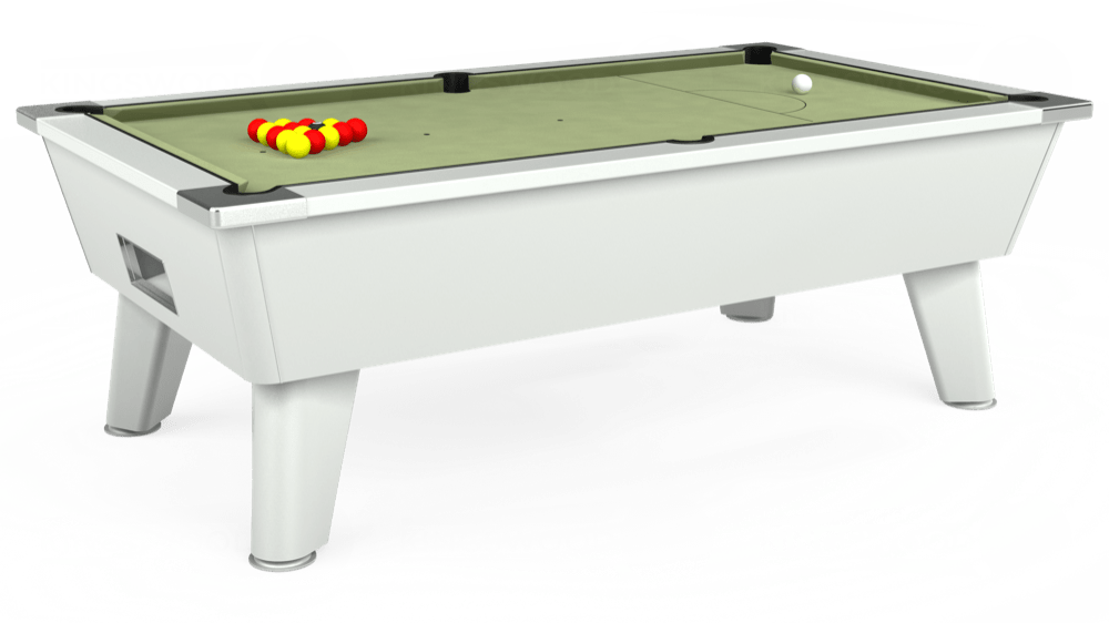 7ft Omega Free Play Pool Table in White with Hainsworth Smart Sage cloth delivered and installed - £1,125.00