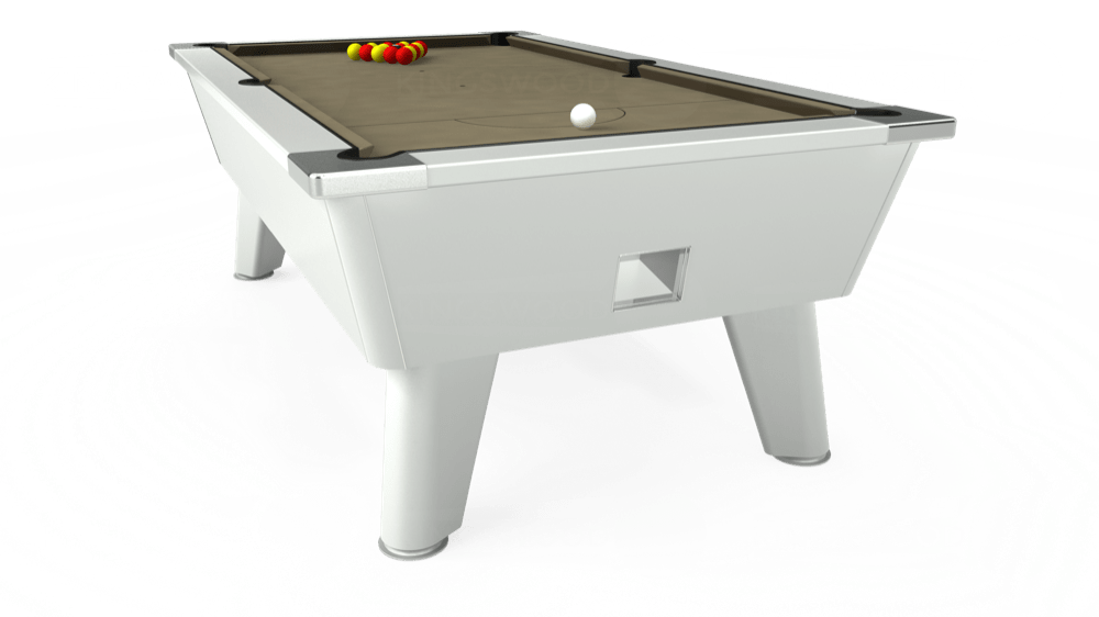 7ft Omega Free Play Pool Table in White with Hainsworth Smart Taupe cloth delivered and installed - £1,125.00