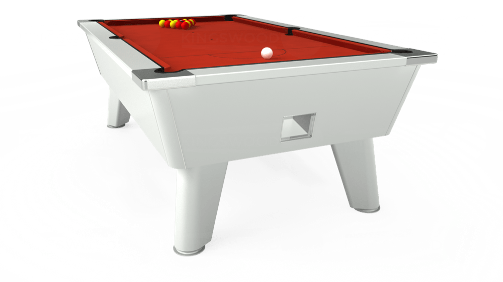 7ft Omega Free Play Pool Table in White with Hainsworth Smart Windsor Red cloth delivered and installed - £1,150.00