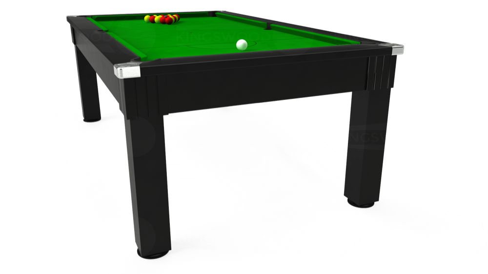 7ft Windsor Pool Dining Table in Black with Standard Green cloth delivered and installed - £990.00