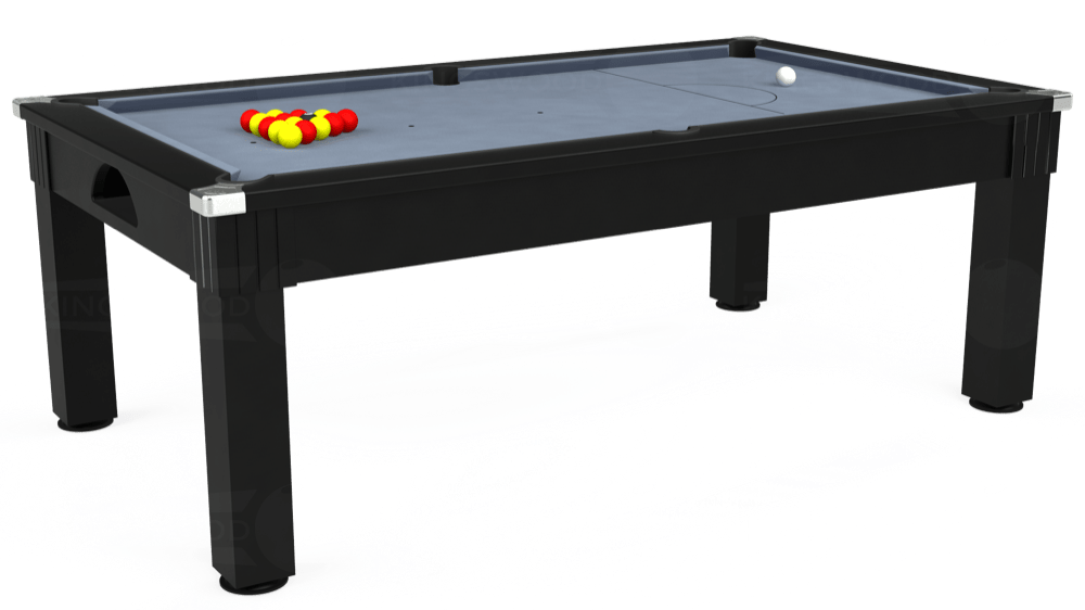 7ft Windsor Pool Dining Table in Black with Hainsworth Elite-Pro Bankers Grey cloth delivered and installed - £1,150.00