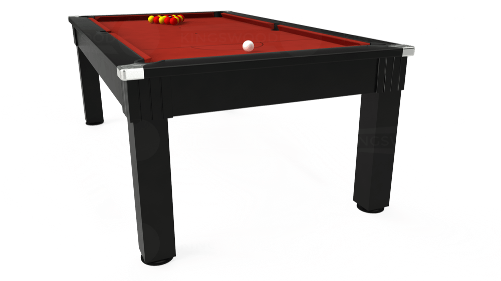 7ft Windsor Pool Dining Table in Black with Hainsworth Elite-Pro Red cloth delivered and installed - £1,090.00