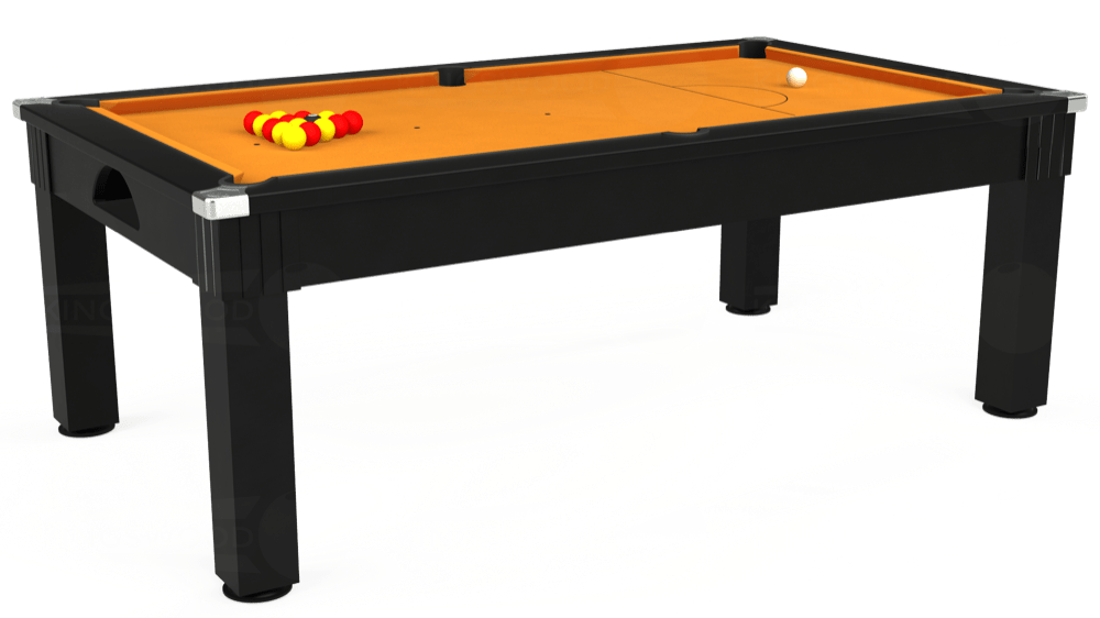 7ft Windsor Pool Dining Table in Black with Hainsworth Smart Gold cloth delivered and installed - £1,150.00
