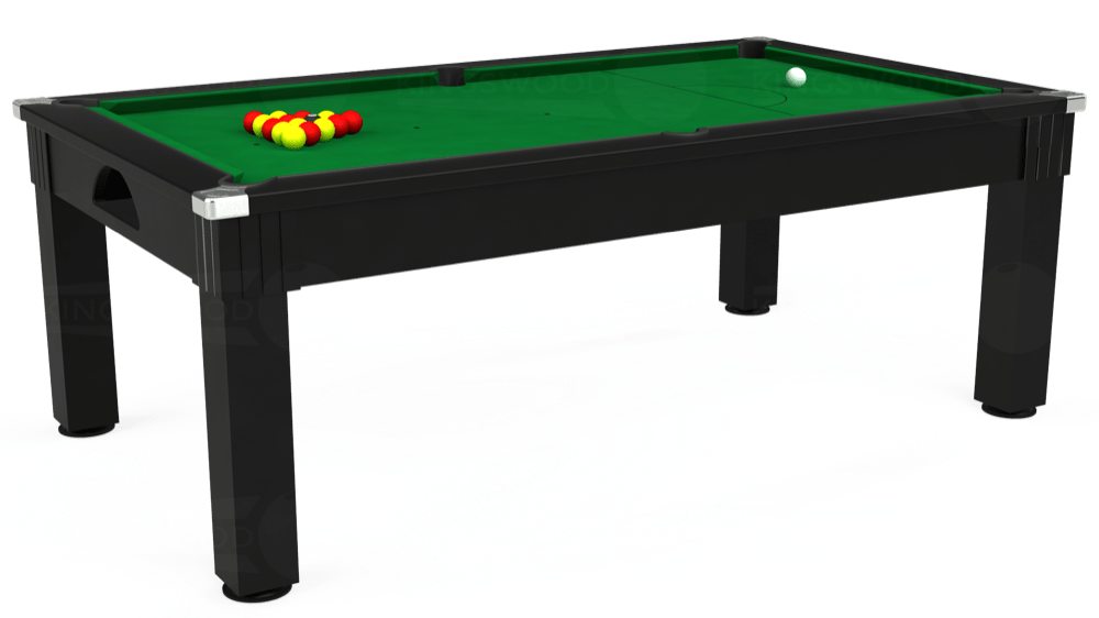 7ft Windsor Pool Dining Table in Black with Hainsworth Smart Olive cloth delivered and installed - £1,150.00