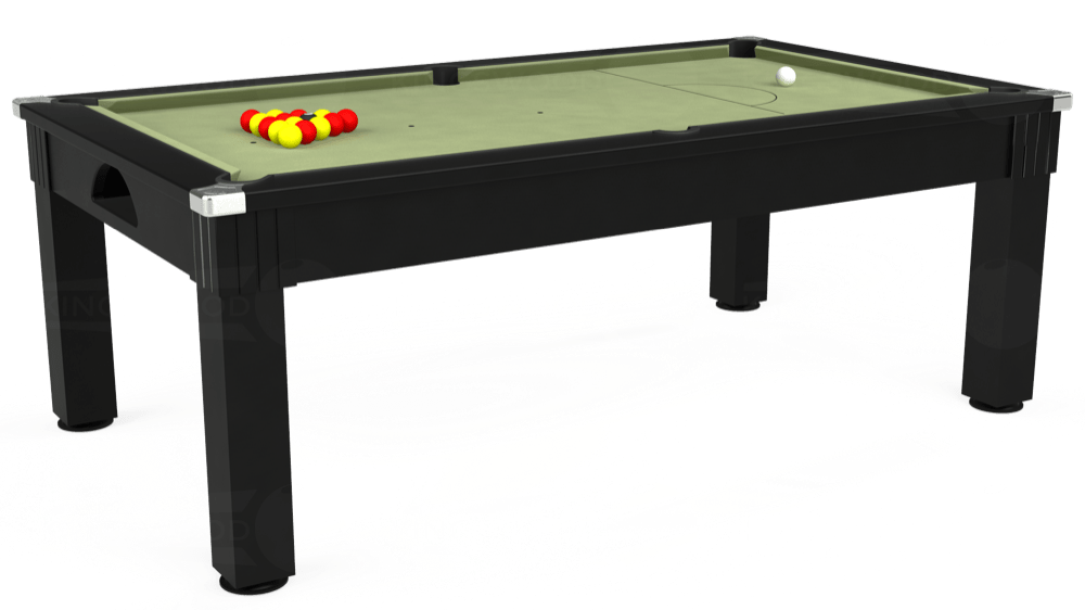 7ft Windsor Pool Dining Table in Black with Hainsworth Smart Sage cloth delivered and installed - £1,090.00
