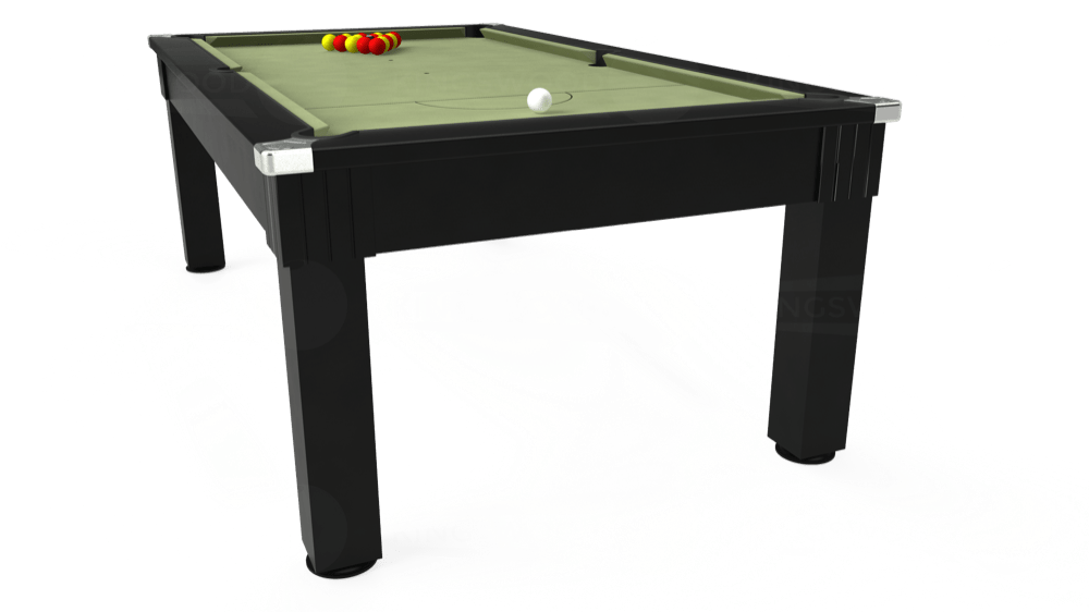 7ft Windsor Pool Dining Table in Black with Hainsworth Smart Sage cloth delivered and installed - £1,100.00