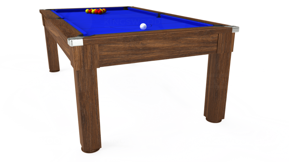 7ft Windsor Pool Dining Table in Dark Walnut with Standard Blue cloth delivered and installed - £990.00