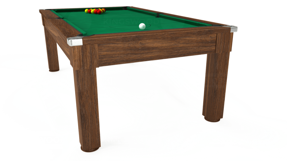 7ft Windsor Pool Dining Table in Dark Walnut with Hainsworth Elite-Pro American Green cloth delivered and installed - £1,090.00