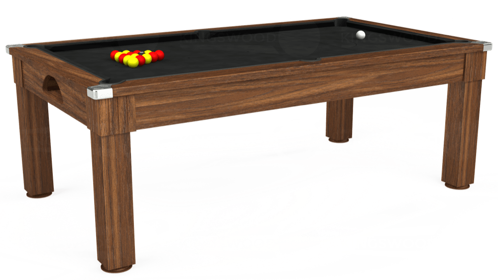7ft Windsor Pool Dining Table in Dark Walnut with Hainsworth Elite-Pro Black cloth delivered and installed - £1,090.00