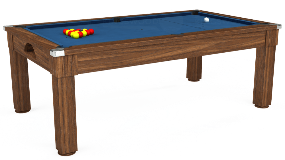 7ft Windsor Pool Dining Table in Dark Walnut with Hainsworth Elite-Pro Cadet Blue cloth delivered and installed - £1,090.00