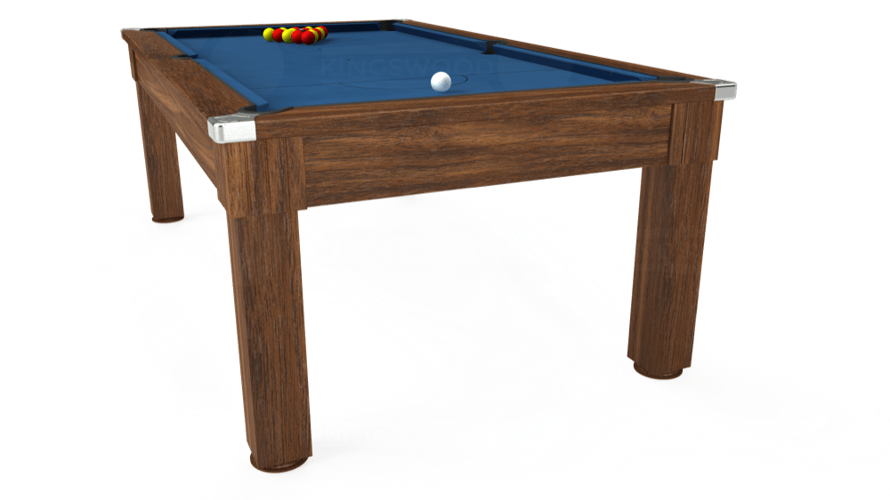 7ft Windsor Pool Dining Table in Dark Walnut with Hainsworth Elite-Pro Cadet Blue cloth delivered and installed - £1,100.00
