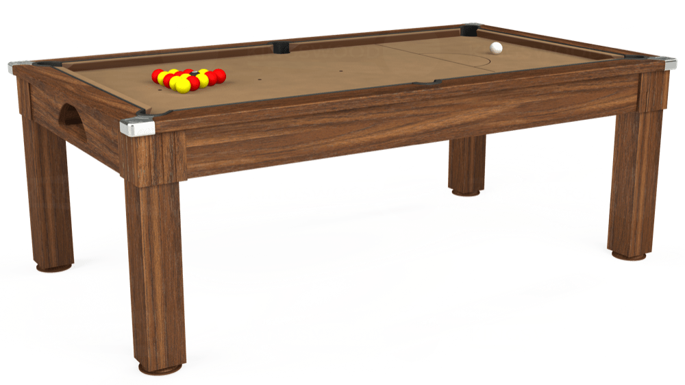 7ft Windsor Pool Dining Table in Dark Walnut with Hainsworth Elite-Pro Camel cloth delivered and installed - £1,090.00