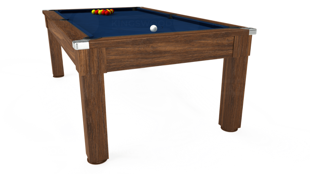 7ft Windsor Pool Dining Table in Dark Walnut with Hainsworth Elite-Pro Marine Blue cloth delivered and installed - £1,090.00