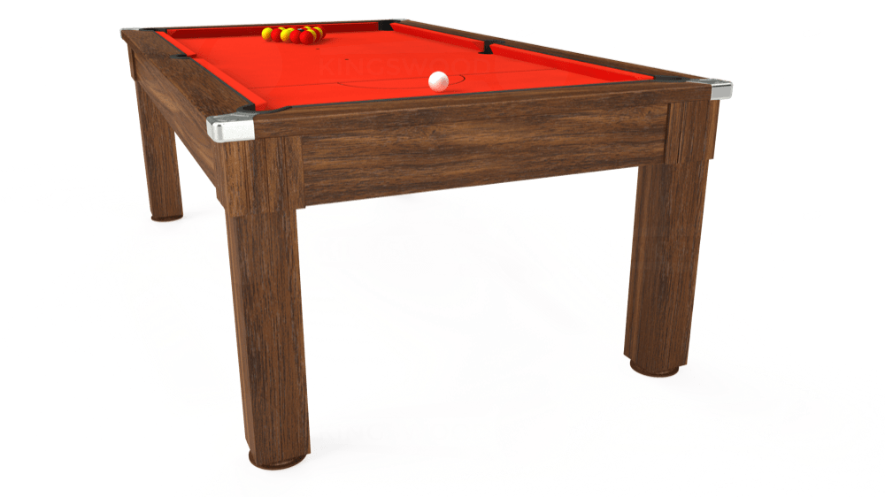 7ft Windsor Pool Dining Table in Dark Walnut with Hainsworth Elite-Pro Orange cloth delivered and installed - £1,100.00