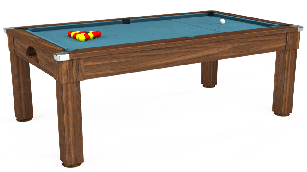 7ft Windsor Pool Dining Table in Dark Walnut with Hainsworth Elite-Pro Powder Blue cloth delivered and installed - £1,100.00