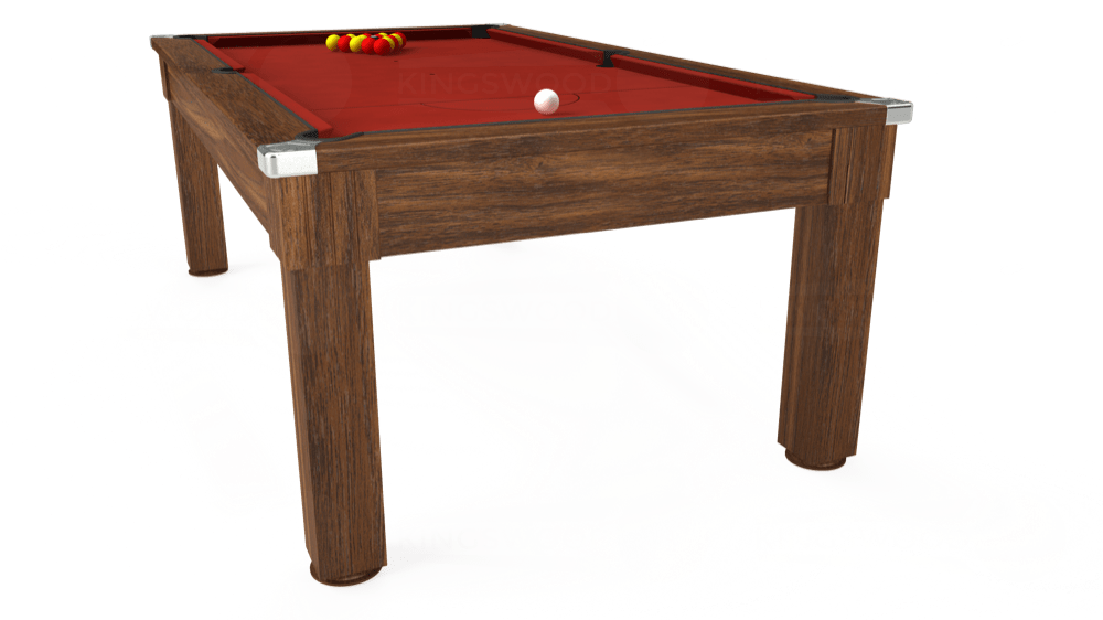 7ft Windsor Pool Dining Table in Dark Walnut with Hainsworth Smart Cherry cloth delivered and installed - £1,100.00