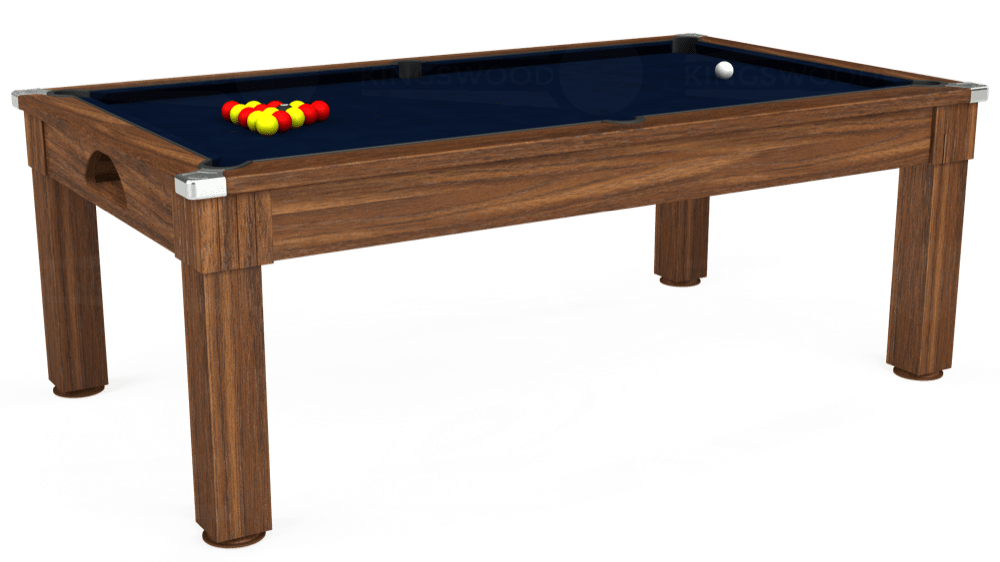 7ft Windsor Pool Dining Table in Dark Walnut with Hainsworth Smart French Navy cloth delivered and installed - £1,100.00