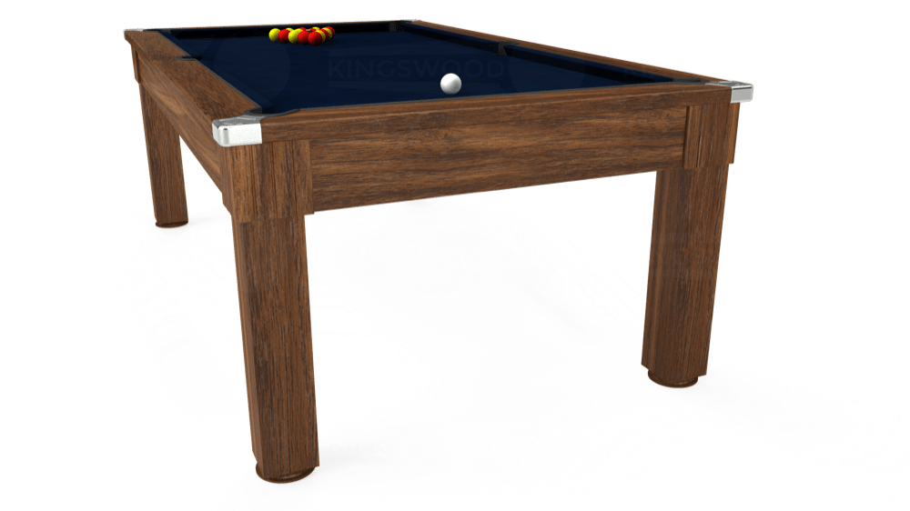 7ft Windsor Pool Dining Table in Dark Walnut with Hainsworth Smart French Navy cloth delivered and installed - £1,090.00
