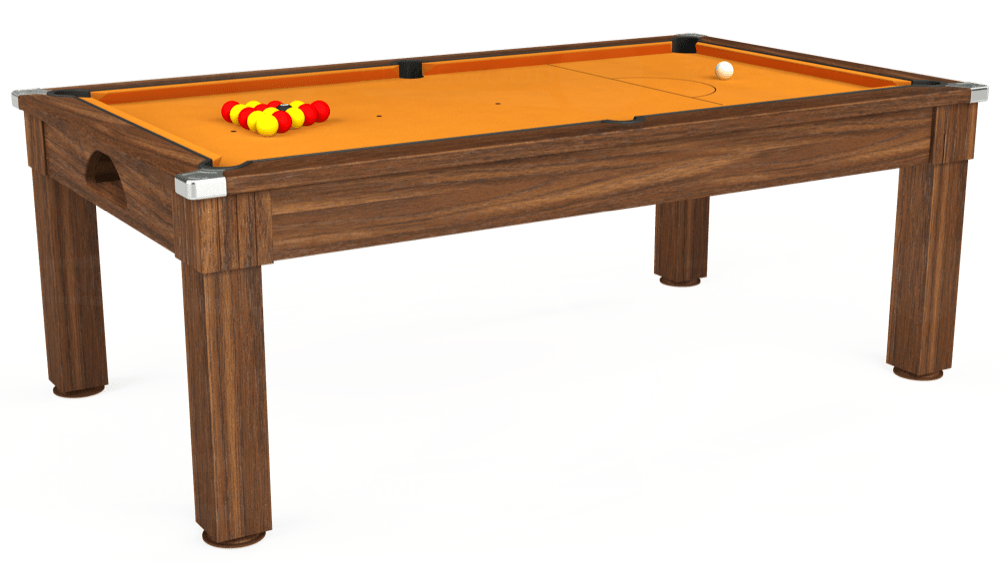 7ft Windsor Pool Dining Table in Dark Walnut with Hainsworth Smart Gold cloth delivered and installed - £1,090.00