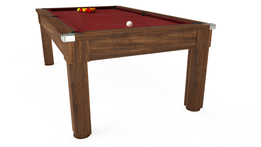 7ft Windsor Pool Dining Table in Dark Walnut with Hainsworth Smart Maroon cloth delivered and installed - £1,100.00