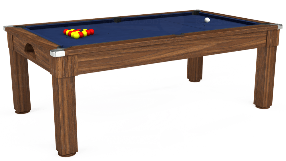 7ft Windsor Pool Dining Table in Dark Walnut with Hainsworth Smart Royal Navy cloth delivered and installed - £1,090.00