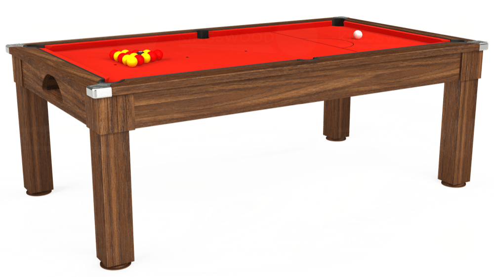 7ft Windsor Pool Dining Table in Dark Walnut with Hainsworth Smart Orange cloth delivered and installed - £1,100.00
