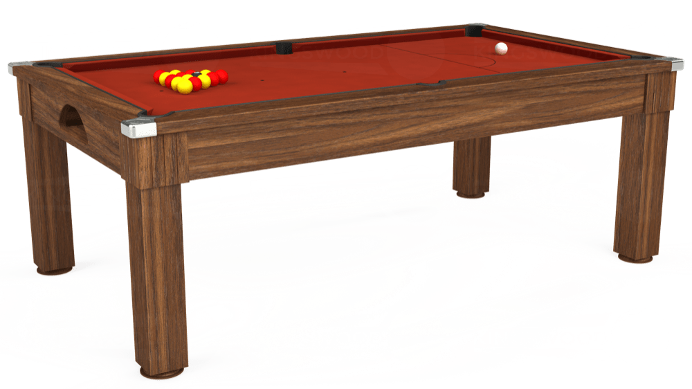7ft Windsor Pool Dining Table in Dark Walnut with Hainsworth Smart Paprika cloth delivered and installed - £1,090.00