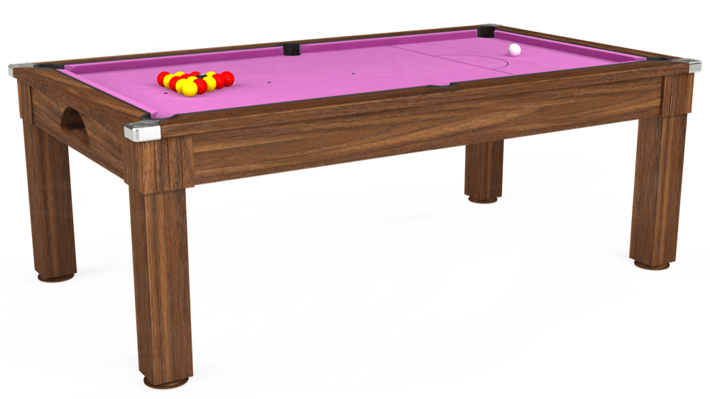 7ft Windsor Pool Dining Table in Dark Walnut with Hainsworth Smart Pink cloth delivered and installed - £1,090.00