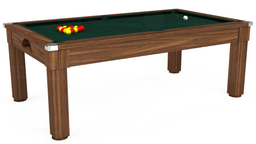 7ft Windsor Pool Dining Table in Dark Walnut with Hainsworth Smart Ranger Green cloth delivered and installed - £1,090.00